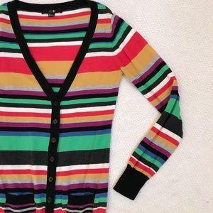 FOREVER 21 Rainbow Stripe Cardigan Small